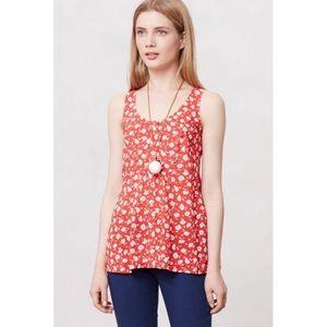 Anthro Maeve Ardmore Red Floral Sleeveless Tank